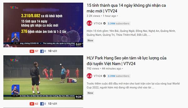 kênh tin tức trên Youtube