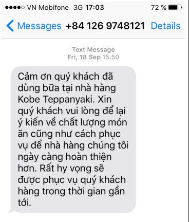 Mẫu SMS Marketing từ Klaviyo