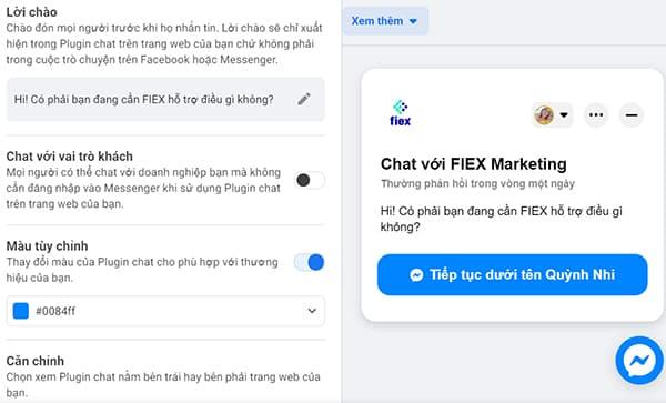 cài đặt live chat Facebook