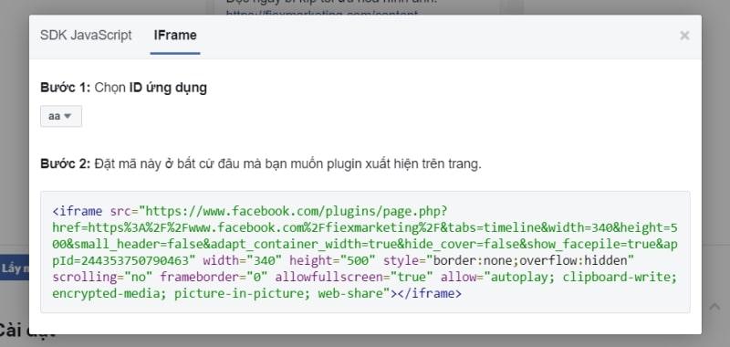 code chèn Facebook vào website