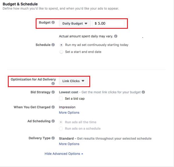 ngân sách Facebook dynamic ads