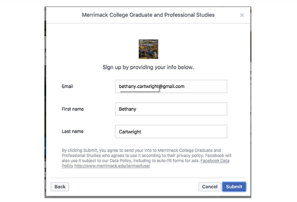 Nhập biểu mẫu facebook lead ads
