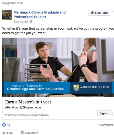 Quảng cáo lead ads Merrimack College
