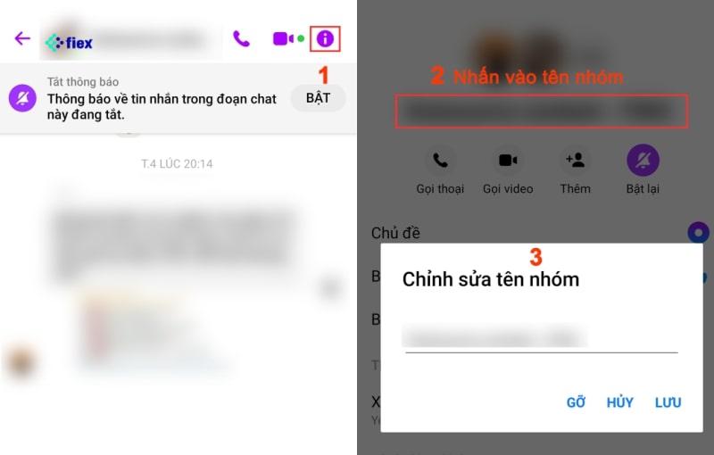 sửa tên cho nhóm chat Messenger