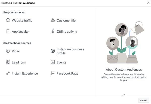 Tạo đối tượng cho remarketing facebook