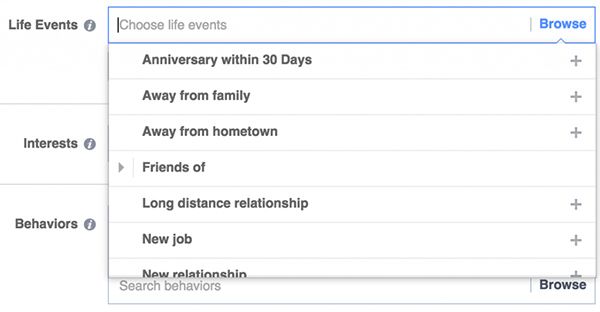 Target các sự kiện cuộc sống