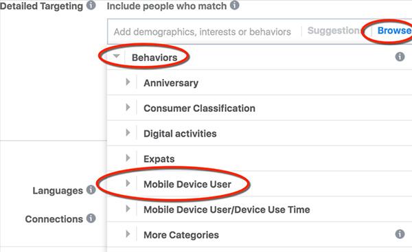 Target Facebook cho di động