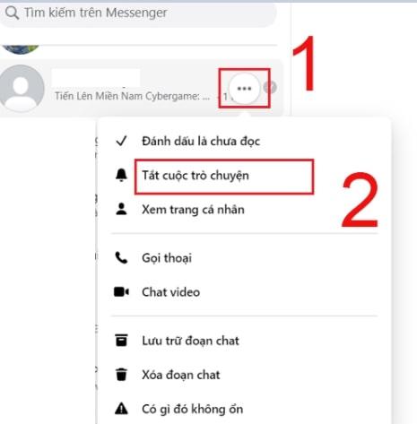 Tắt thông báo tin nhắn nhóm Messenger máy tính