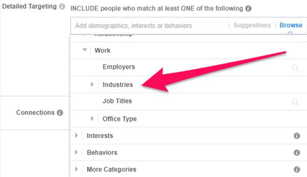tùy chỉnh target Facebook công việc