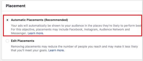 vị trí đặt dynamic ads facebook