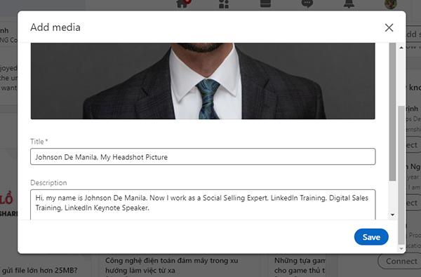 phương tiện trong bài viết LinkedIn