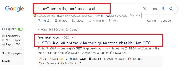 kiểm tra google index url