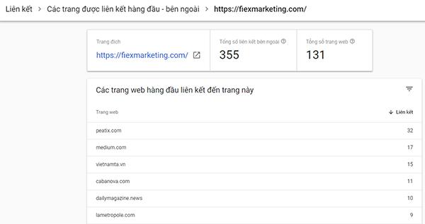 Kiểm tra link bằng webmaster tool