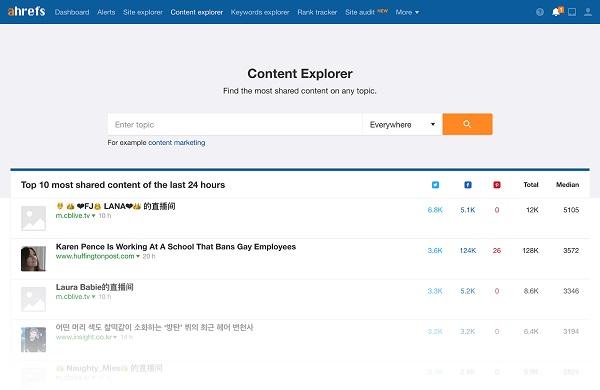 công cụ Ahrefs Content Explorer